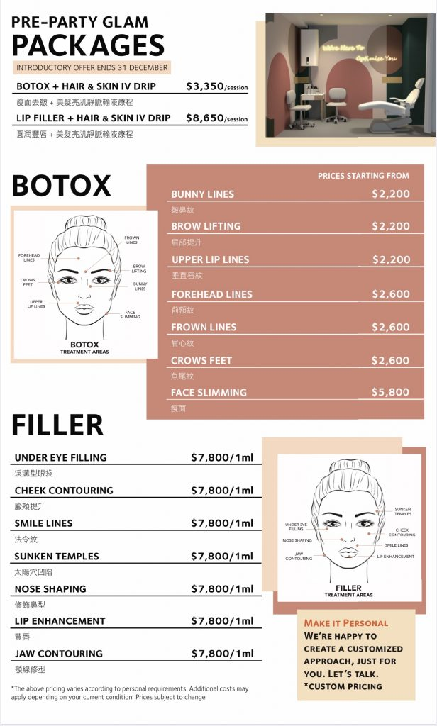 Botox-Lip Fillers-Beauty Bar Menu